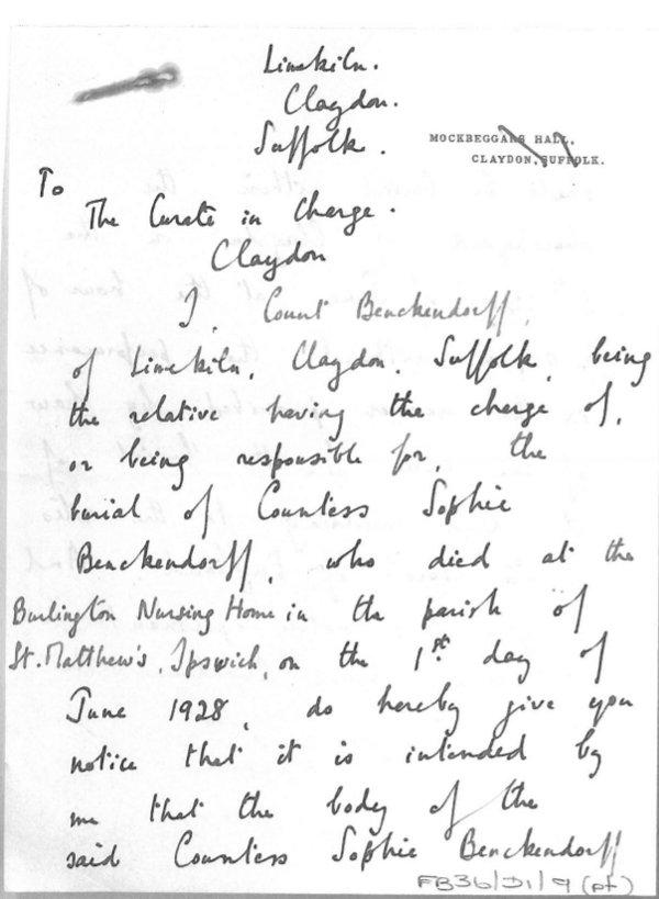 Benckendorff letter 1